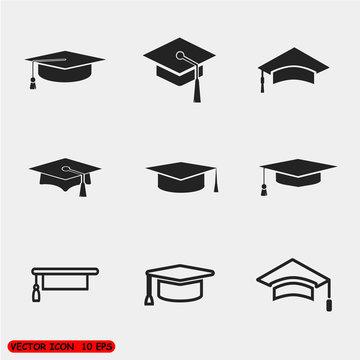 Vector graduation cap icons