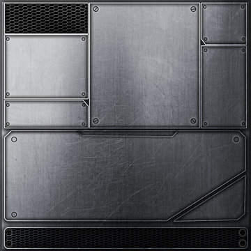scifi wall. metal wall and black mesh. metal background