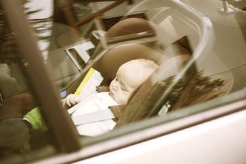 Baby forgotten alone in the car in a really hot day