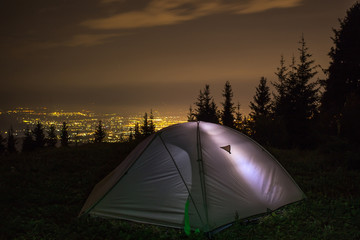 night camping near the town