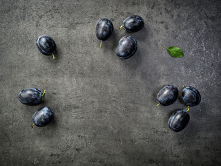 blue plums on dark background