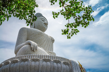 Big white buddha in Phuket, public landmark temple