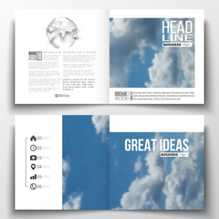 Set of annual report business templates for brochure, magazine, flyer or booklet. Beautiful blue sky, abstract background with white clouds, leaflet cover, layout, vector illustration.