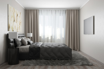 3D rendering of modern bedroom with white roses2