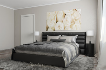 3D rendering of modern bedroom with white roses1