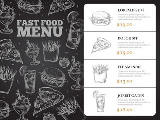 Restaurant brochure vector menu design with hand-drawn fast food