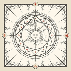Alchemy magic circle. Mystic occult hermetic circle vector illustration