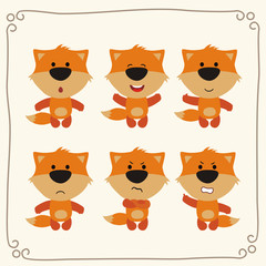 Vector set isolated emotions fox. Collection emoji fox. Cute cartoon fox.