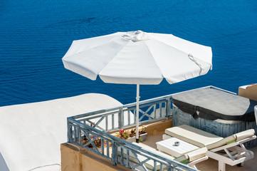 Terrace over the blue sea of Santorini