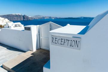 Reception of an hotel in Santorini