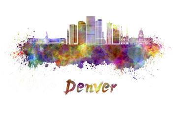 Wall Mural - Denver skyline in watercolor splatters with clipping path