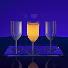 Glass of orange juice on a dark background.