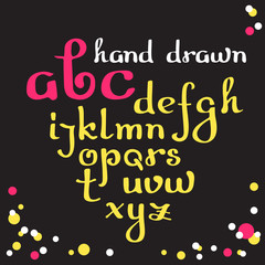 Hand drawn letters. Vector alphabet.