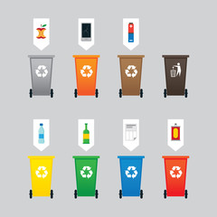 Waste or Garbage Bin, Separation, Segregation, Management, Material Objects with Symbol