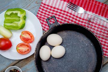 Fresh ingredients for omelet
