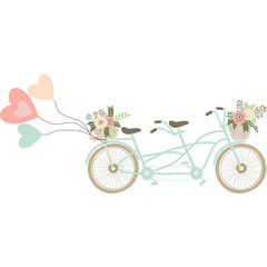 Wedding Bicycle with balloons.Basket of flowers.Love Balloons.Twin Bike