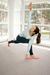 Young woman doing morning gymnastics