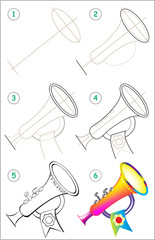 Page shows how to learn step by step to draw a toy trumpet. Developing children skills for drawing and coloring. Vector image.