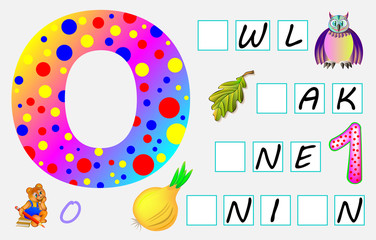 Educational page for children with letter O for study English. Need to write the letters in the empty squares. Developing skills for writing and reading. Vector image.