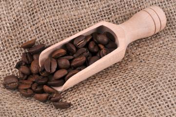 Aluminium Prints Coffee beans Petite pelle en bois de grains de café sur une toile de jute