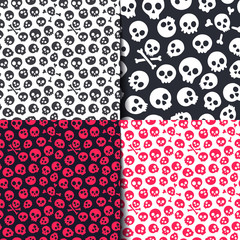 Set opf seamless pattern with skulls. Vector illustration