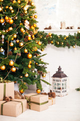 Christmas tree and Interior room decorated in Christmas style wi