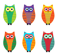 Baby owl cartoon set, cute colorful owls. Vector illustration