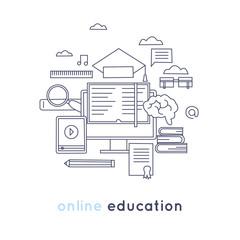 Thin line On-line education, learning, training courses, university, tutorials. Flat design vector illustration.