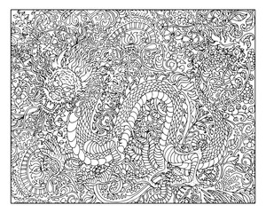 Hand drawn dragon against zen floral pattern background