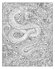 Hand drawn snake against zen floral pattern background