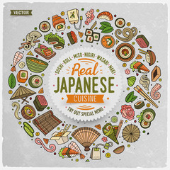 Set of Japanese food cartoon doodle objects, symbols and items