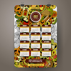 Cartoon doodles Mexican food 2017 year calendar template