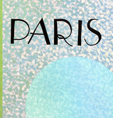 Paris vintage postcard - paper silhouette of Eiffel Tower - text space