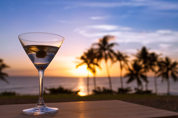 Martini drink on the beach.