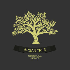 Hand drawn graphic argan tree. Vector illustration for labels, packs, logo design.