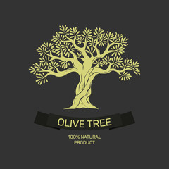 Hand-drawn graphic olive tree. Vector illustration for labels, packs, logo design.