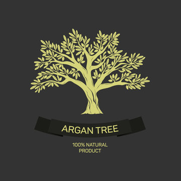 Hand drawn graphic argan tree. Vector illustration for labels, packs, logo design.