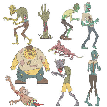 Creepy Zombies Outlined Drawings
