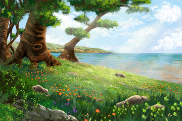 The River Bank with Flowers and Trees. Video Game's Digital CG Artwork, Concept Illustration, Realistic Cartoon Style Background