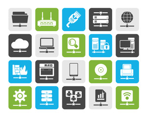 Silhouette Computer Network and internet icons - vector icon set