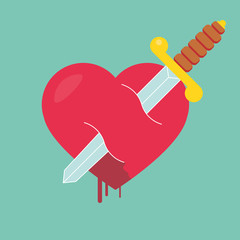 Heart with dagger icon vector illustration