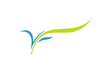 letter V leaf vector logo