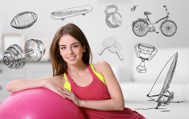 Beautiful young woman with fit ball at home. Sport lifestyle concept. Diversity of sport icons on background.