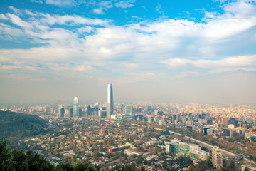 The skyline of Santiago in Chile