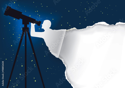 astronomer with telescope background paper background with