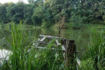 old fishing bridge on the lake