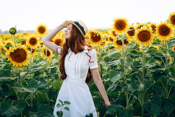 beautiful sweet sexy girl in a white dress walking on a field of sunflowers , smiling 