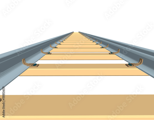 Railway track  3d Vector illustration Front view