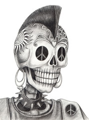 Punk Skull day of the dead.Art design skull head action smiley face day of the dead festival hand pencil drawing on paper.