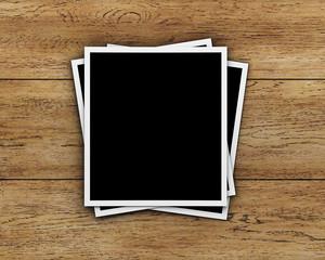 Photos on wood background